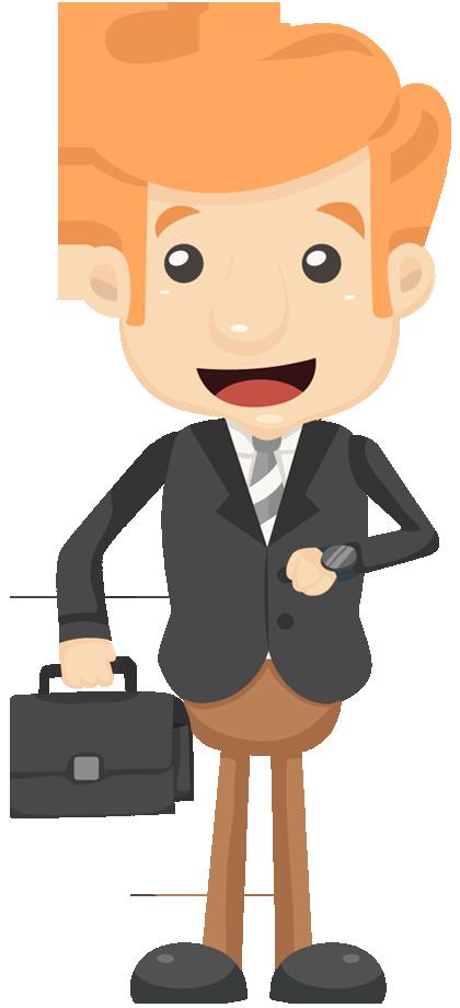 cartoon businessman look his watch with handbag