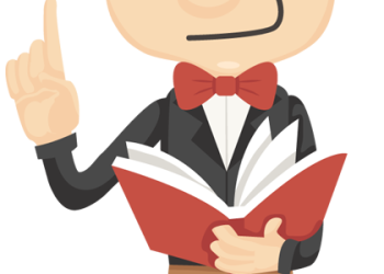 Cartoon businessman with book and finger point up