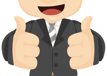 Cartoon happy businessman hands make thumbs up