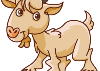 Cute cartoon goat standing