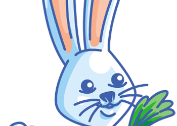 Happy rabbit cartoon holding carrot