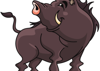 Cartoon wild boar standing