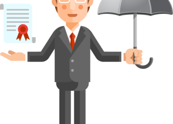 Cartoon businessman holding umbrella and document