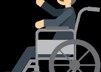 Cartoon elderly man sitting in wheelchair