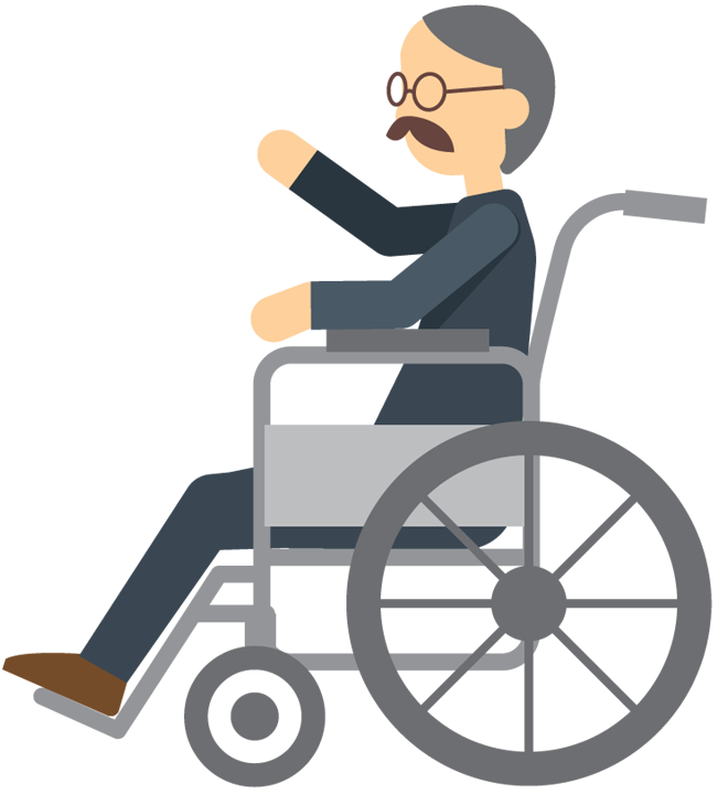 Cartoon Elderly Man Sitting In Wheelchair 1designshop