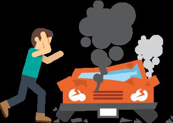 Cartoon adult upset man in front of crash car