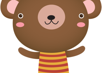 Cute cartoon bear standing