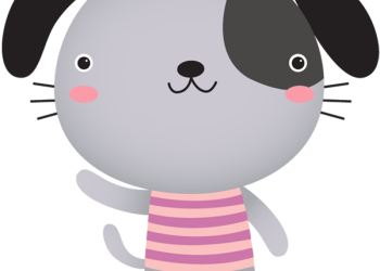 Cute cartoon dog waving and smiling
