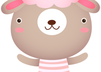 Cute sheep cartoon character waving