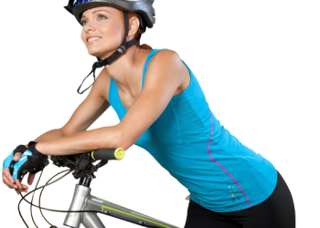 Smiling Young Woman Riding Bicycle.
