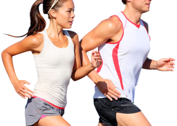 Woman and man jogging together