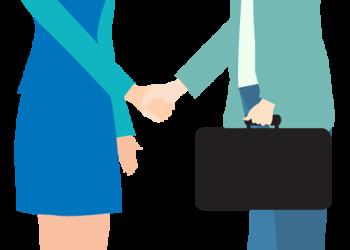 Cartoon business man and woman shake hand