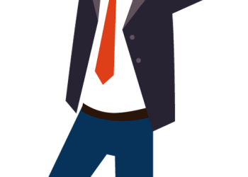 Cartoon Business Man Excited Hold Hands Up