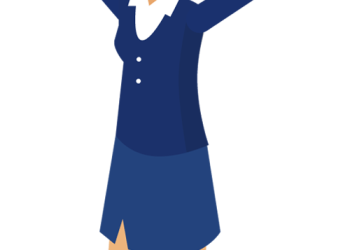 Cartoon business woman with hands up