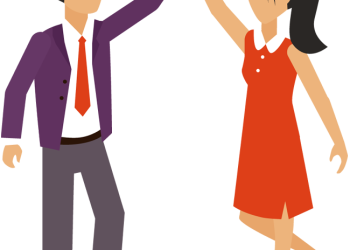 Cartoon Business Man and Woman Hand Giving High Five