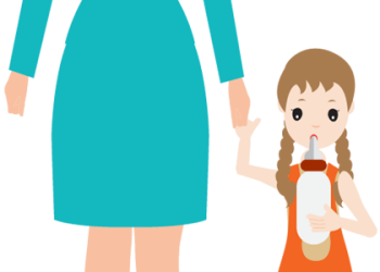 Cartoon woman holds the hand of a small child