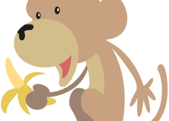 A Happy cartoon monkey with banana