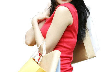 Beautiful Young Chinese Woman Carrying Shopping Bag