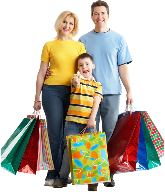 Household Stores: Happy Family With Children Holding Shopping Bags