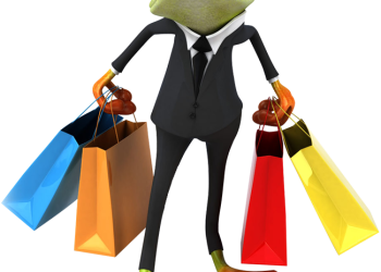 Business frog with shopping bags