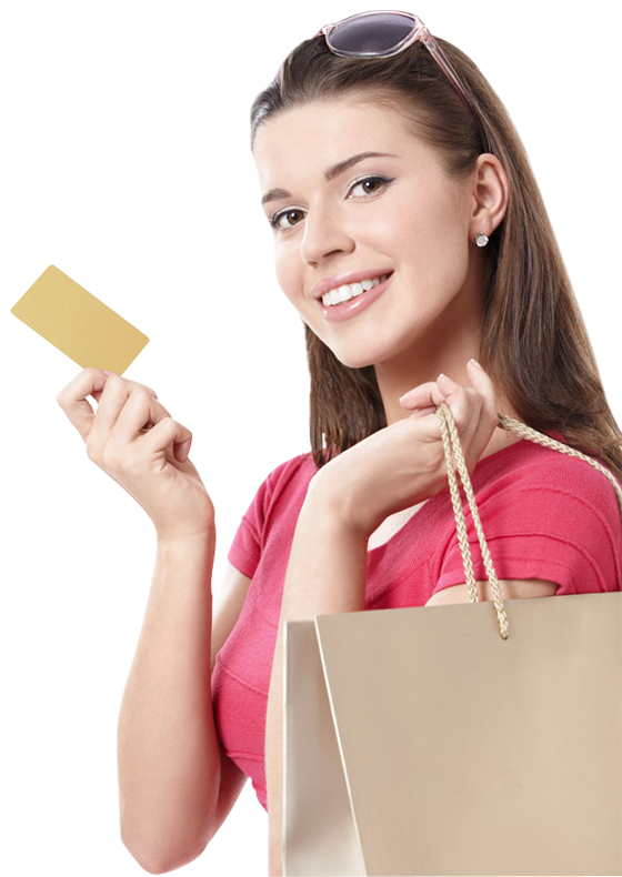 About Clip Art >> Happy young woman holding shopping bags and visa credit