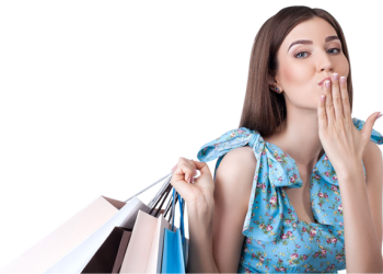 Pretty woman with shopping bags covers mouth with hand