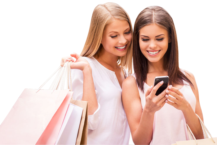 Two Happy Shopping Woman Looking At Phone 1designshop