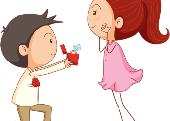 Cartoon man give ring to his girl for marriage proposal