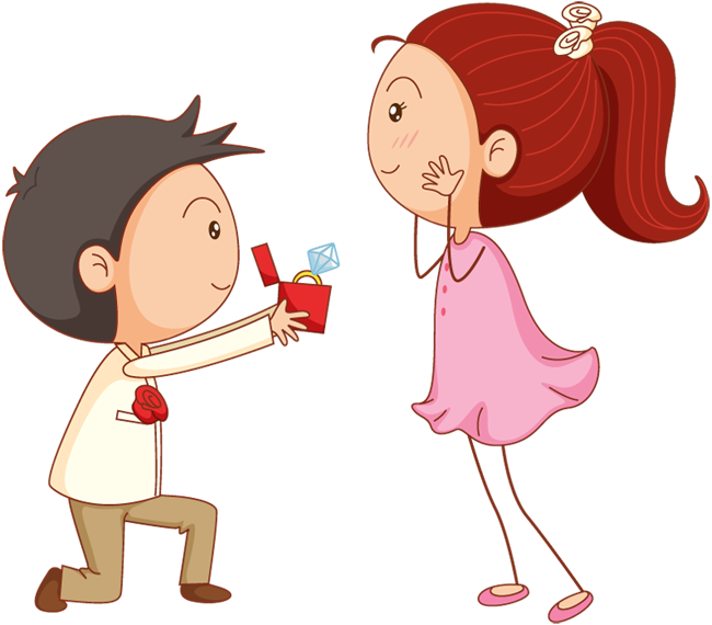 Cartoon man give ring to his girl for marriage proposal | 1designshop