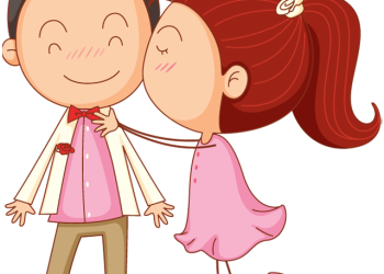 Valentines day cartoon man and woman kiss surprise