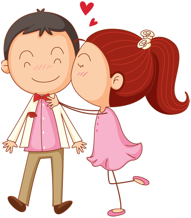 Valentines Day Cartoon Man And Woman Kiss Surprise 1designshop