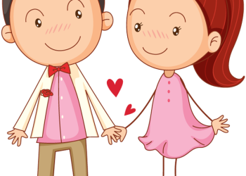 Cartoon Couple in love Holding Hands
