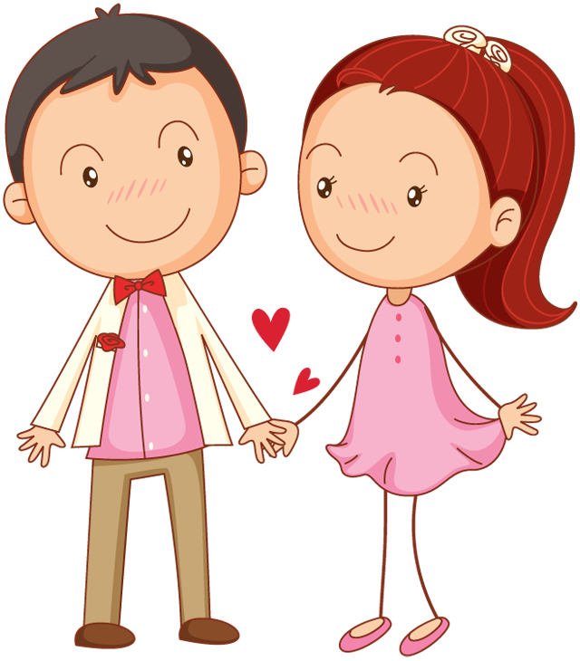 Cartoon Couple In Love Holding Hands 1designshop