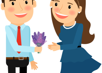 Cartoon Man gives flower to woman for love