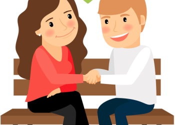 Cartoon woman and man holding hands sitting on park bench