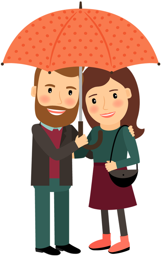 Happy cartoon couple under umbrella in love hugging. Valentines Day ...
