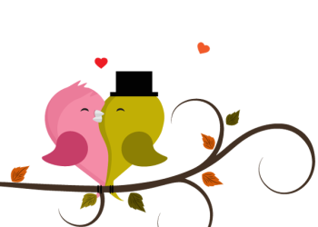 Cute love birds couple cartoon in tree