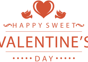 Romantic valentines symbol with words Happy sweet valentine's day