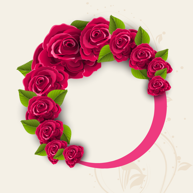 Circle Of Red Roses Frame Background. Valentines Day Background.