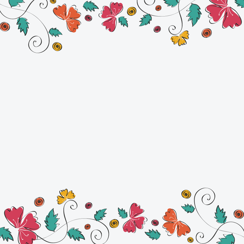 simple floral pattern in white background 1designshop
