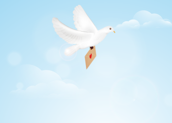 Pigeon fly with carrying a love letter on sky background