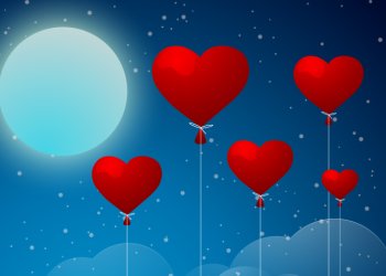 Love balloons on night sky background
