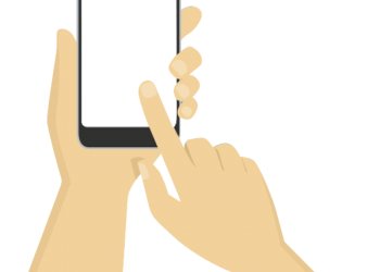 Hand using handphone with transparent screen