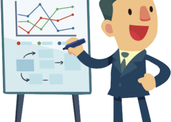 Business man presenting cartoon illustration