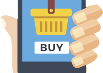 Hand holding smartphone with buy on the screen