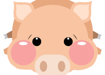 Cute pig lying down illustration