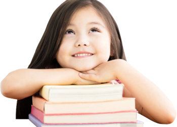 Child little girl with chin on books