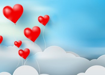 Valentine's day sky background with red heart ballon