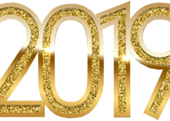 Gold shiny Happy New year 2019 3d text