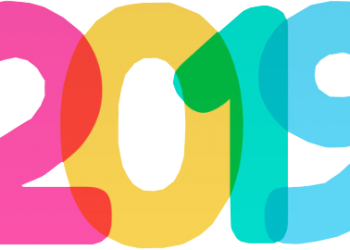 Happy new year 2019 with colorful text